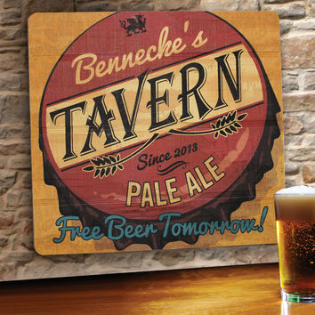 Personalized Wood Tavern and Bar Sign - Free Beer Tomorrow