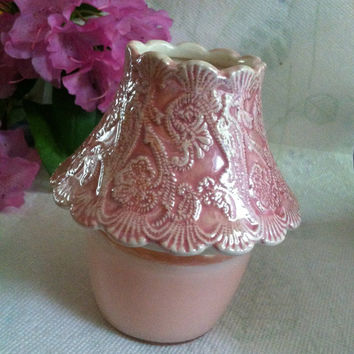 Rose Ceramic Scalloped Candle Holder Pink Fancy Scrolled Design Votive Shade With Glass Jar Container Including Candle Cottage Home Decor