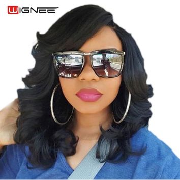 Tough Durable Synthetic Wigs for Women Pure Color Natural Black Hair Heat Resistant