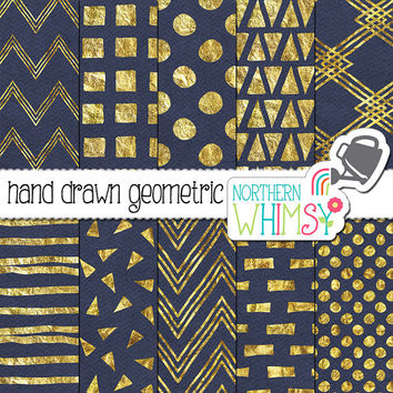Navy and Gold Digital Paper – hand drawn geometric patterns in gold foil on blue - scrapbook paper - printable paper - commercial use