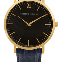 Larsson & Jennings - Croc-effect leather and gold-plated watch