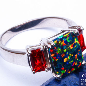 TOP SELLER! Green Australian Opal & Garnet .925 Sterling Silver Ring Size 5-10