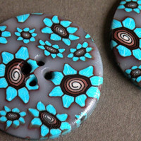 Set of 2 One-of-a-kind Stylish Turquoise Blue, Brown and White Petite Flowers...Handmade Buttons...