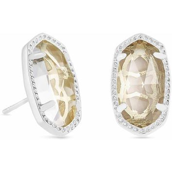 Kendra Scott: Ellie Silver Stud Earrings In Clear Crystal