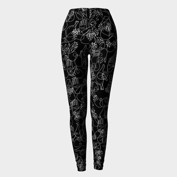 Black Leggings, Hands Print, Black and White, Printed Leggings, Workout Leggings, Yoga Leggings, Hands Pattern, Weight Lifting Leggings