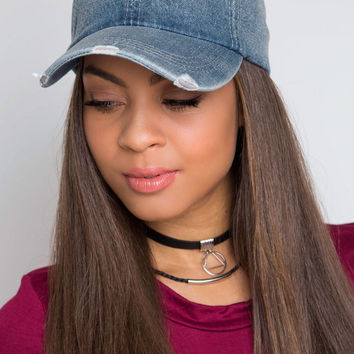 Take the Heat Distressed Hat - Denim