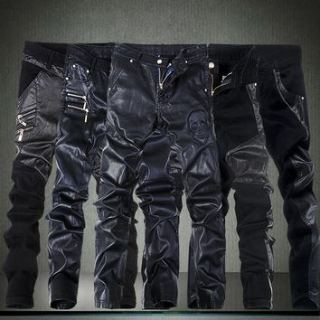 2016 Men's Skinny Leather Pants sweat Motorcycle Faux Leather Stitching tight Sweatpant biker joggers black trousers 28-36 male