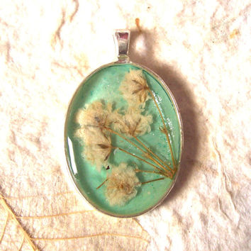 Babys Breath Real Pressed Flower Turquoise Silver Plated Pendant Necklace