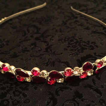 Silver Ruby Red Head Crown