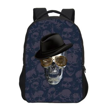 Canvas Skull Printing Children Backpacks Cool Rock School Book bag Teenagers girls Shoulder Travel