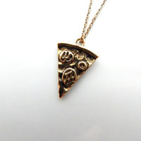 PIZZA SLICE NECKLACE (Gold) : Pizza Pendant Necklace, Pizza Charm, Pizza Slice, Charm Necklace, Food Necklace, Food Pendants, Food Charms