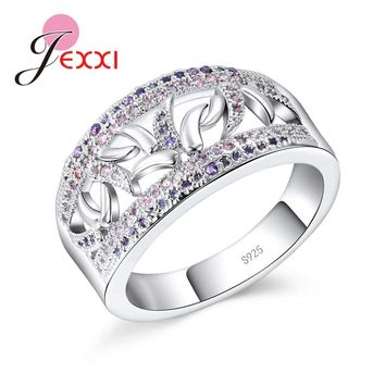 JEXXI New Stylish Women Wide Hollow Ring AAA+ Clear Cubic Zircon Jewelry 925 Silver Wedding & Engagement Jewelry Gift Hot Sale