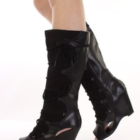 Black Faux Leather Open Toe Wedge Boots