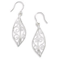 Leaf Shape Filigree Design French Wire Earrings