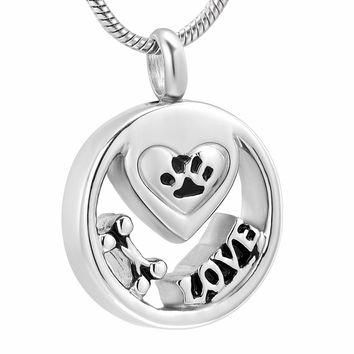 "XWJ10051 Pet Cremation Urn ""Bone, Paw, LOVE"" Engraving Locket for Ashes 316L Stainless Steel Cremation Jewelry Necklace Keepsake"