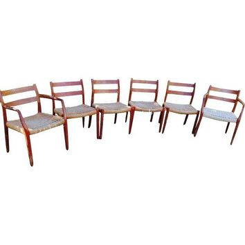Pre-owned J.L. Moller Model 84 Danish Dining Chairs - S/6