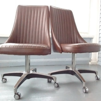 Vintage Chromcraft Dining Chairs, Swivel, Rolling, Kitchen Chair