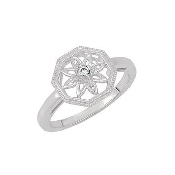 Vintage Style Sterling Silver .03 Ct H-I, I2 Diamond Octagon Ring