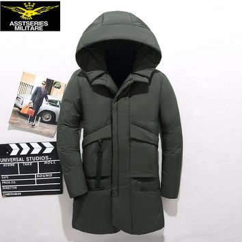 2017 New Winter Down Jacket Men New 90% white duck down coat Hooded Top quality brand clothing long male down parkas -20 C