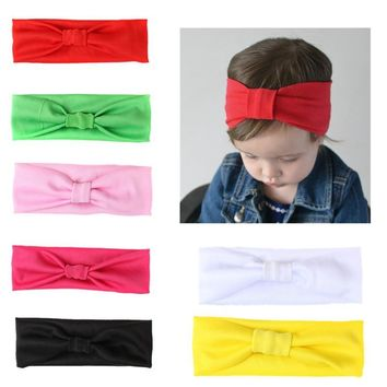 ideacherry Brand Baby Hair Accessories Candy Color Children's Headbands Western Knot Bandanas Baby Elasticity Hair Bands Simple