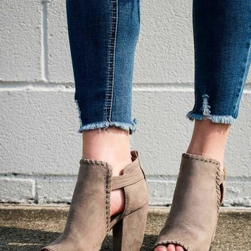 I Love You A Latte Suede Stitched Booties in Grey