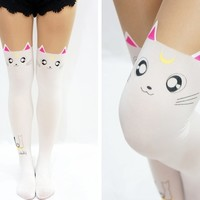 Luna Cats Sailor Moon Cats with Tail Lolita Mock Tights - White