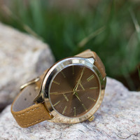 Skinny Leather Band Watch - Tan