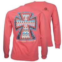 Southern Couture Aztec Cross Faith Comfort Colors Long Sleeve T-Shirt