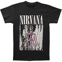 Nirvana Men's  Pink & Grey Sliver Mens Soft T Slim Fit T-shirt Black