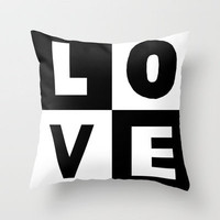 Love Black Throw Pillow by Project M | Society6