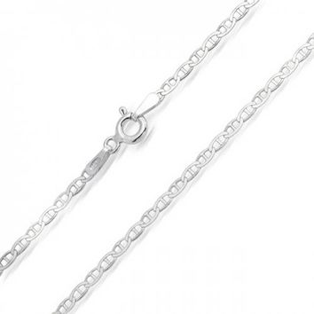 Thin Flat Mariner Anchor Chain 2MM Necklace Sterling Silver Italian