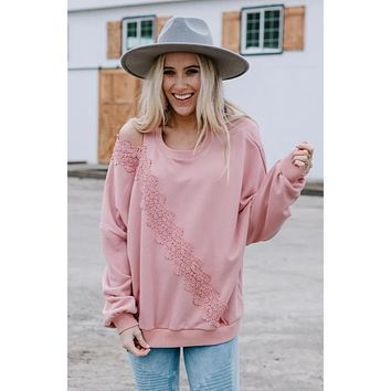 Blown Away Lace Cold Shoulder Pullover - Rose