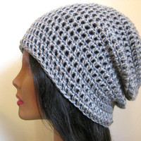 Gray Slouchy Beanie Crochet Hipster Mens Oversize Womens Slouch Grey Beanie