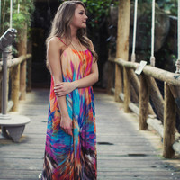 Flowing Tie Dye Maxi Dress