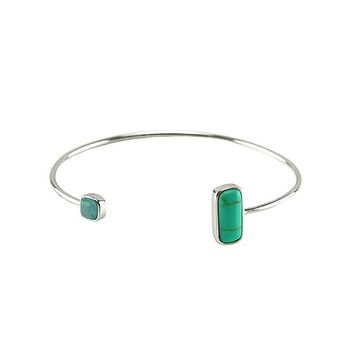 Fulvian Natural Turquoise Stone Open Wire Bracelet
