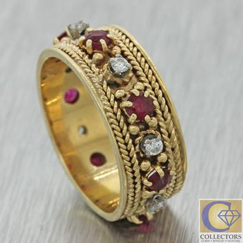 Antique Vtg Estate 14k Yellow Gold Ruby Diamond 7mm Wide Wedding Band Ring J8