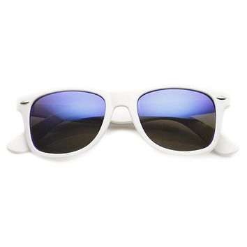 Retro Soft Rubber Intense Mirrored Lens Horned Rim Sunglasses 9101