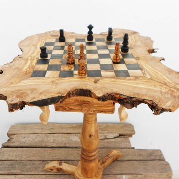 Olive wood chess table / Wooden rustic exotic chess board set / Birthday gift