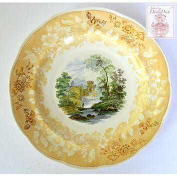 Circa 1818-46 THREE Color Yellow Transferware Fishing Scene Butterfly Rose Border Plate Enoch Woods #2