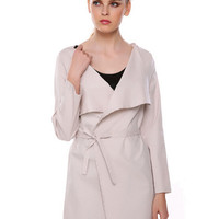 V-neck Long Sleeve Lacing Waist Trench Coat