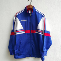 Vintage 90s blue white red ADIDAS TREFOIL Run Dmc Big Blue Logo hip hop Pullover Sweater non Hoodie Size M japan descente
