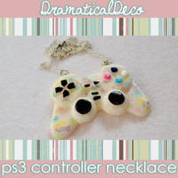 Kawaii Gamer Geek White Pastel Rainbow Glitter Ps3 Games Controller Resin Necklace **FREE US SHIPPING**