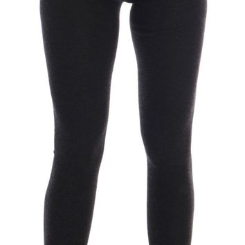 Dolce & Gabbana Gray Cashmere Ribbed Stretch Tights