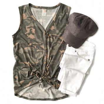 Camo Sleeveless Tie Top