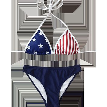 Fashion  Summer New Star Stripe National Flag Print Wading Sports Straps Two Piece Bikini