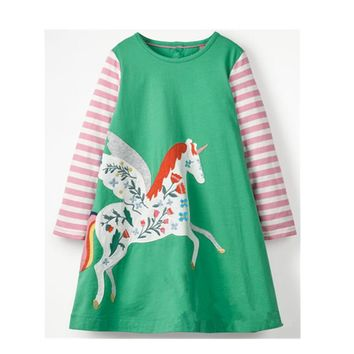 Jumping meters Long Sleeve Dress Girls Clothes 2018 Brand autumn Kids Dresses for Girls Animal Applique Princess Unicorn Dress