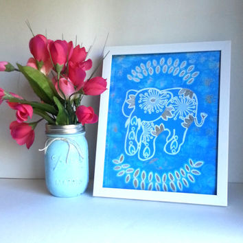 Hippie bohemian tribal elephant 8.5 x 11 inch art print for baby nursery, dorm room, or home decor