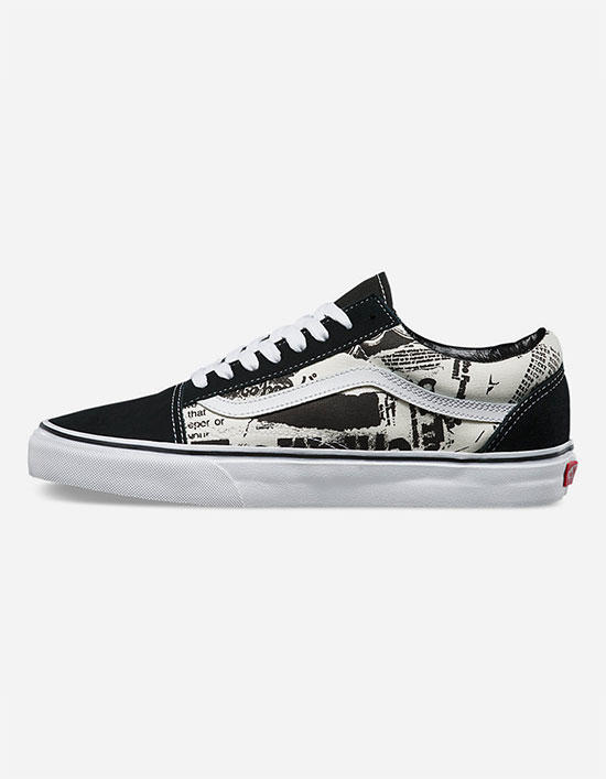 vans old skool black white newsprint