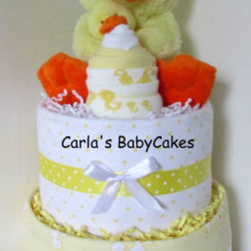 Yellow Duck Diaper Cake, Receiving Blanket Diaper Cake, Neutral Baby Shower Diaper Cake, Baby Shower Centerpiece Cake, New Baby Gift
