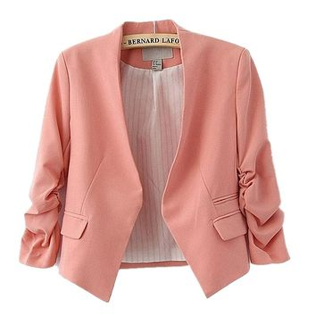 2015 new arrival spring autumn fashion brand blazer women Candy Color ladies coat Slim Solid puff sleeve blazers Basic jackets